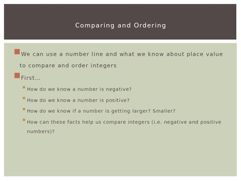 Comparing and Ordering Integers PowerPoint