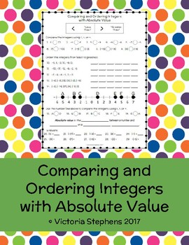 Comparing and Ordering Integers with Absolute Value