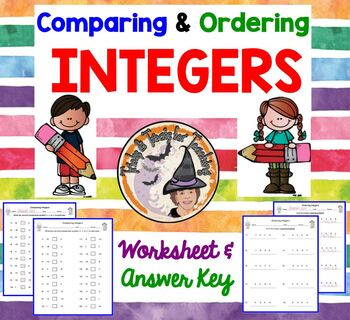 Comparing and Ordering Integers with Answer KEY Compare Order 2 worksheets +KEYS