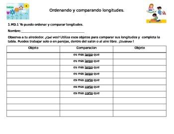 Comparing and Ordering Lengths- Comparando y Ordenando Longitudes