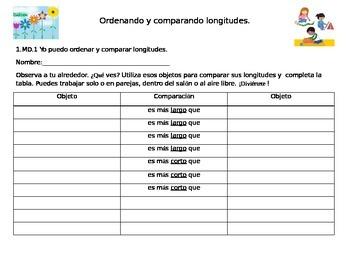 Comparing and Ordering Lengths- Comparando y Ordenando Longitudes
