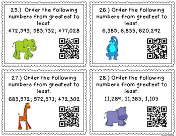 QR Code Task Cards: Comparing and Ordering Multi-digit Whole Numbers {4.NBT.2}