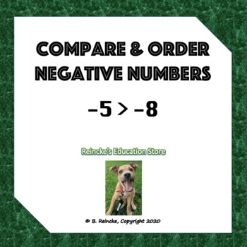 Comparing and Ordering Negative Numbers Worksheet