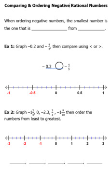 Comparing and Ordering Negative Rational Number Guided Practice / Notes