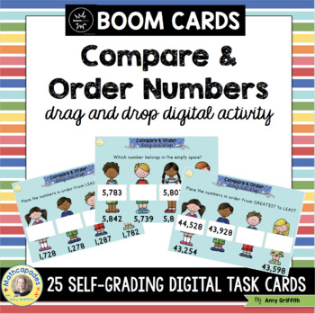 Comparing and Ordering Numbers BOOM Cards TEKs 3.2D