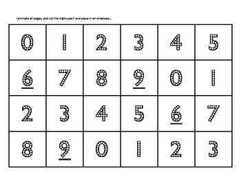 Comparing and Ordering Numbers Game: Places, Places, Places
