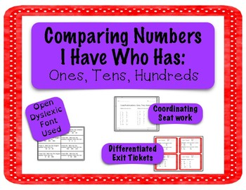 Comparing and Ordering Numbers I Have Who Has - Ones, Tens, Hundreds
