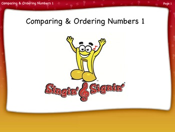 Comparing and Ordering Numbers Lesson 1 First Grade by Singin' & Signin'