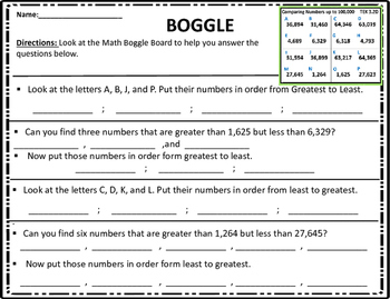 3.2D Comparing and Ordering Numbers Math Boggle STAAR