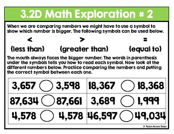 Comparing and Ordering Numbers Math Exploration Stations 3.2D