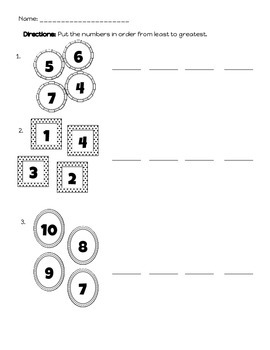 Comparing and Ordering Numbers Pack