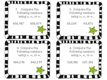Comparing and Ordering Numbers Task Cards 4.NBT.2