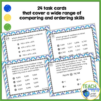 Comparing and Ordering Numbers Task Cards ~Aligned with New Math TEKs 3.2D
