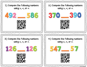QR Code Task Cards: Comparing and Ordering Numbers {to 999}