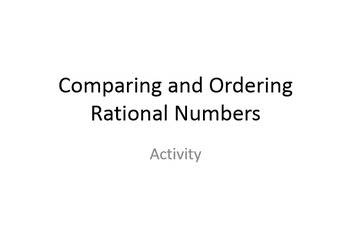 Comparing and Ordering Rational Numbers