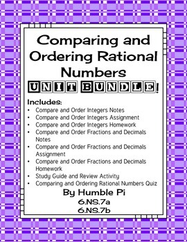 Comparing and Ordering Rational Numbers Bundle-6.NS.7a, 6.NS.7b