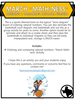 March Madness - Comparing and Ordering Rational Numbers