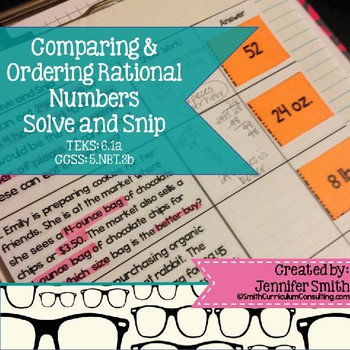 Comparing and Ordering Rational Numbers Solve and Snip® Word Problems