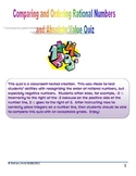 Comparing and Ordering Rational Numbers and Absolute Value Quiz