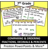 (7th) Comparing and Ordering Fractions, Decimals, and Percents in a PowerPoint
