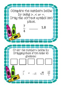 Comparing and Ordering Real Numbers Boom Cards--Digital Task Cards