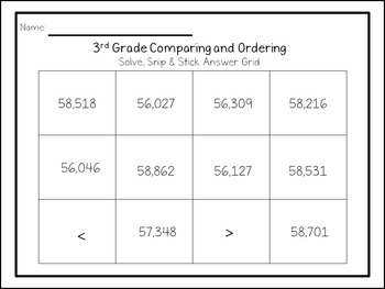 Comparing and Ordering: Solve, Snip, & Stick Activity: TEKS 3.2D