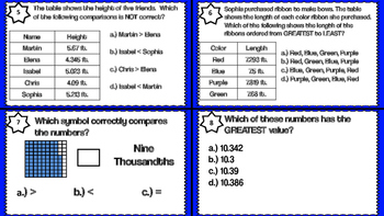 Comparing and Ordering Task Cards to Thousandths