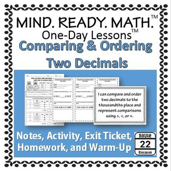 Comparing and Ordering Two Decimals One-Day Lesson
