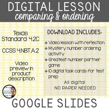 Comparing and Ordering Whole Numbers Digital Interactive Lesson