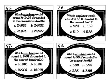 Comparing and Rounding Decimals Test Prep Task Cards
