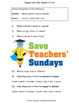 Comparing and ordering amounts of time lesson plans, worksheets and more