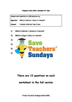 Comparing and ordering  amounts of time worksheets (3 leve