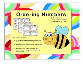 Comparing and ordering numbers task cards