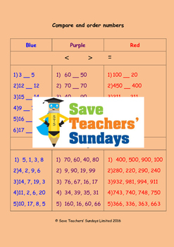 Comparing and ordering numbers worksheets (3 levels of difficulty)