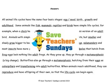Comparing animal life cycles Lesson plan and Worksheets