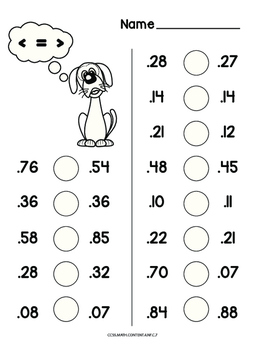 Comparing decimal numbers common core worksheet