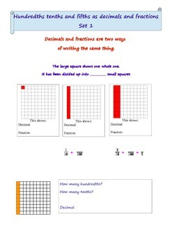 Comparing decimals and fractions using a 100 square