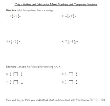 Comparing, decomposing, adding, and subtracting fractions - 4.NF.2, 4.NF.3