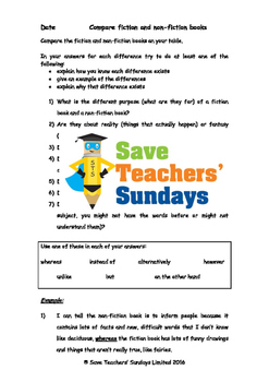 Comparing fiction and non-fiction books Worksheets (2 levels of difficulty)