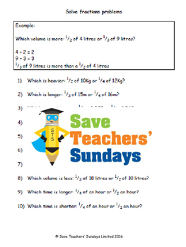 Comparing fractions of measures lesson plans, worksheets and more.