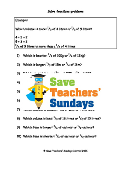 Comparing fractions of measures worksheets (3 levels of di
