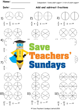 Adding and Subtracting Fractions on Diagrams Lesson Plans, Worksheets and More