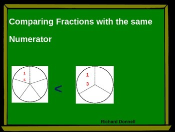 Comparing fractions with same numerator
