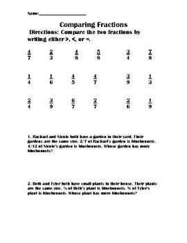 Comparing fractions worksheet