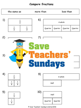 Comparing fractions worksheets (3 levels of difficulty)
