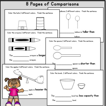 Comparing length, height, weight, width, capacity: Math Reader