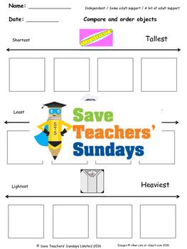 Comparing Measurements Worksheets (2 levels of difficulty)