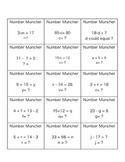 Comparing number sentences and basic algebra game