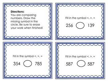 Comparing number task cards 1st and 2nd grade