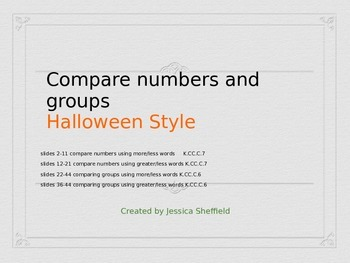 Comparing numbers and groups Halloween Powerpoint